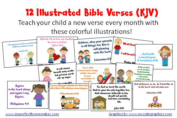 Illustrated Bible Verses For Kids Kjv Christian