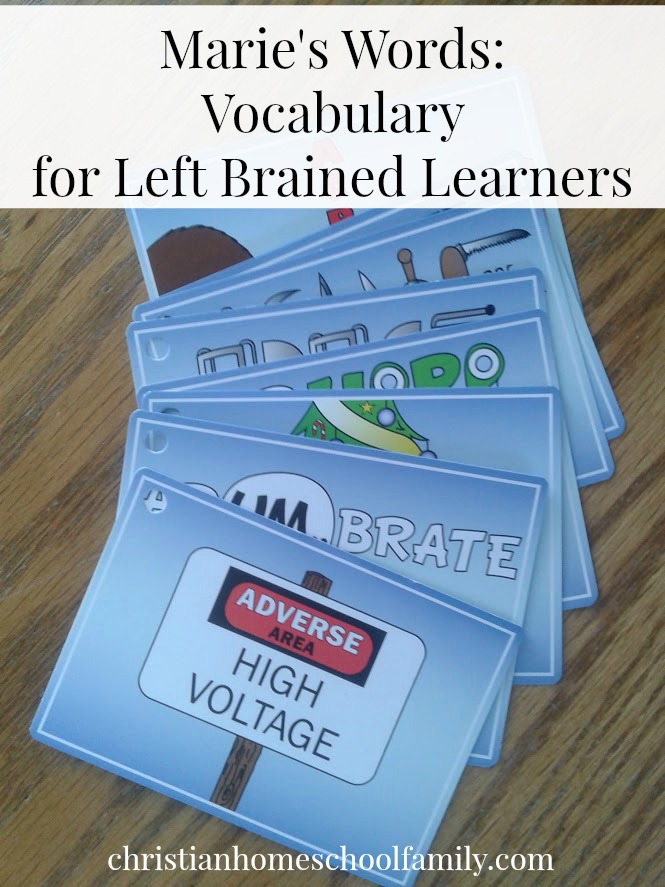 marie's words vocabulary cards | homeschool curriculum review